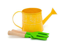 Watering can and gardening tools Stock Image