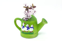 Watering can with geese and blossom. Green watering can with geese and blossom Royalty Free Stock Images