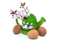Watering can with geese and blossom. Green watering can with geese and blossom Royalty Free Stock Image
