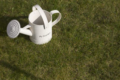 Watering can on grass. Overhead view of white watering can on grass with copy space stock photos
