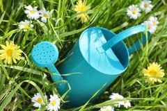 Watering can on grass Royalty Free Stock Photography