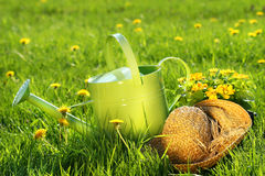 Watering can in the grass Stock Photo