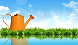 Watering can on the grass with the bright sky. Stock Photos