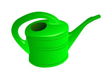 Watering can. Green watering can isolated on white Stock Photos