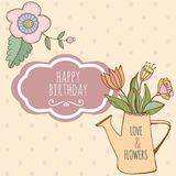 Watering can with hand drawn colorful flowers. Watering can with hand drawn colorful flower. Cute card happy birthday Royalty Free Stock Photos