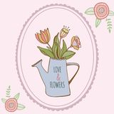 Watering can with hand drawn colorful flowers with. Watering can with hand drawn colorful flower with openwork nature Stock Photos