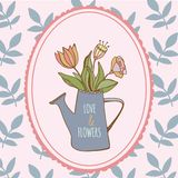Watering can with hand drawn colorful flowers with. Watering can with hand drawn colorful flower with openwork nature blue brunch Stock Photography