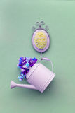 Watering can hanging on the wall Stock Image