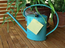 Watering can and herbs Stock Photo