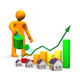 Watering Can Homes Manikin. Orange cartoon with watering can, houses and colorful chart Stock Photo