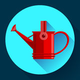 Watering can icon. Irrigation symbol. Flat Vector illustration. Red Watering can icon. Irrigation symbol. Flat Vector illustration Royalty Free Stock Photos