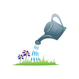Watering can illustration. Watering can with drops of water and lawn, icon design, isolated on white background Stock Photography