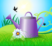 Watering Can Indicates Horticulture Flowers And Gardener. Watering Can Meaning Flowers Plant And Sowing Stock Photography