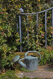 Watering can and ironwork. Country house garden with watering can and ironwork Royalty Free Stock Photos