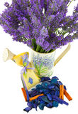 Watering can with lavender sachet Stock Image