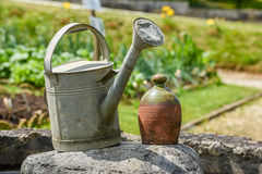 Watering Can. Located in garden at Bordeaux France stock photo