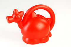 Watering can made of plastic. On white backgrou Stock Photo