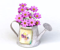 Watering-can metallico con i fiori dentellare Fotografia Stock
