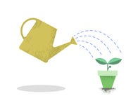 Watering can and plant in the pot. Growing idea concept. Earth day. Vector illustration. Stock Photos
