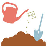 Watering Can, Plant Seeds and Garden Tool, Vector Illustration Royalty Free Stock Photo
