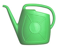 Watering can. Plastic green watering can isolated on white background royalty free stock images