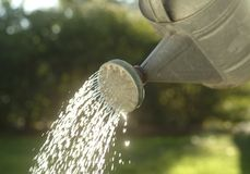 Watering Can Pouring Water Royalty Free Stock Photos