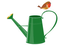 Watering can with a robin. A cartoon watering  can witha robin redbreast bird perched on the handle Stock Photography