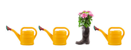 Watering can, rubber boots and flowers. Stock Photography