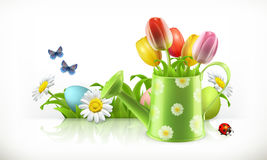 Watering can and spring flowers vector banner. Watering can and spring flowers 3d vector banner Stock Photography