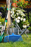 Watering can and tools in the garden Stock Images