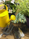 Watering Can And Trowel Next To Plants Stock Photos