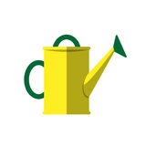 Watering can vector isolated on white. Yellow watering can isolated on white. Vector illustration steel metallic single horticulture garden equipment Stock Photography