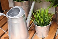 Watering Can or Watering Pot with Artificial Plant Royalty Free Stock Photography