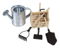 Watering Can and Wooden Box with Tools Royalty Free Stock Photography