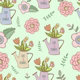 Watering cans seamless pattern with cute hand. Watering cans seamless pattern with hand drawn flower Royalty Free Stock Photos