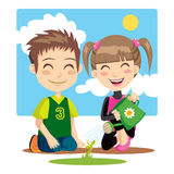 Watering Children Royalty Free Stock Photography