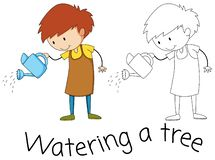 Watering doodle graphic style royalty free illustration