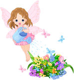 Watering Fairy. Illustration of a cute little fairy watering Royalty Free Stock Photos