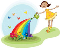 Watering flowers. Vector illustration of a small girl watering flowers Stock Illustration