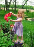 Watering Flowers. Pretty little girl watering the flowers Royalty Free Stock Photography