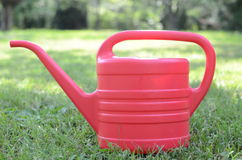 Watering flowers in the garden. With watering can Royalty Free Stock Image