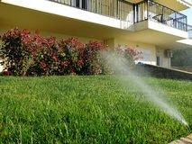Watering Front Lawn Royalty Free Stock Photo