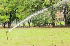 Watering in golf course Stock Photo