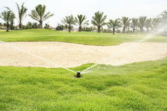 Watering in golf course Royalty Free Stock Images