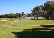 Watering golf courses. Belek. Turkey Stock Image