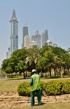 Watering Grass And Plants In Dubai Stock Images
