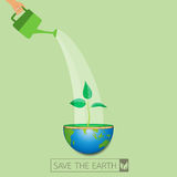 Watering on green earth idea. Human with watering can on the green earth.Ecological idea concept design.Earth day concept.Vector illustration Royalty Free Stock Image