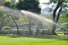 Watering green lawn by water splash Royalty Free Stock Image