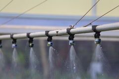 Watering Greenhouse. A close up view of a watering boom inside a greenhouse Stock Images