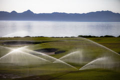Watering the Gulf Course Royalty Free Stock Image